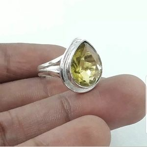 Crystal Jewelry - Faceted Citrine silver ring